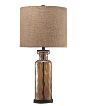 Signature Design By Ashley Laurentia Glass Table Lamp With Drum Shade Champagne Toned 0 300x360