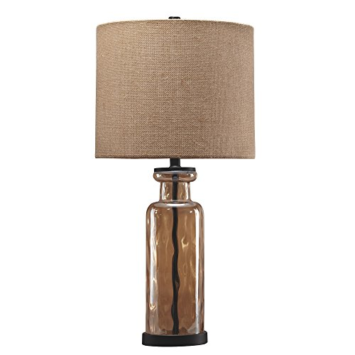 Signature Design By Ashley Laurentia Glass Table Lamp With Drum Shade Champagne Toned 0