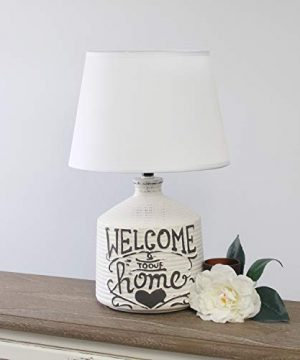 Simple Designs LT1066 HME Welcome Home Ceramic Farmhouse Table Lamp 0 300x360