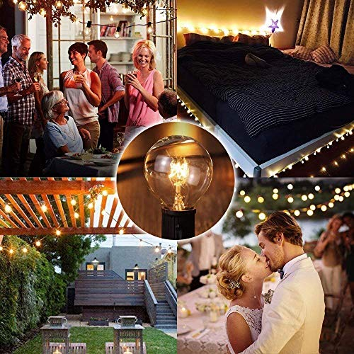 SkrLights 100 FT Globe String Lights With 105 G40 Globe Clear Bulbs G40 Indoor Outdoor Lighting Garden Fairy Backyard Market Xmas Holiday Patio Wedding Party String Lights Black Wire 0 3
