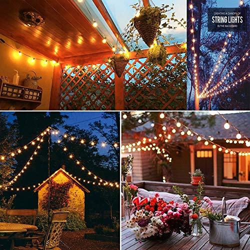 SkrLights 100 FT Globe String Lights With 105 G40 Globe Clear Bulbs G40 Indoor Outdoor Lighting Garden Fairy Backyard Market Xmas Holiday Patio Wedding Party String Lights Black Wire 0 4