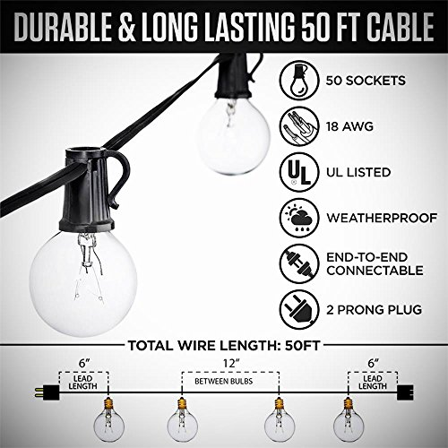 SkrLights 50FT Globe String Lights 53 Clear Bulbs Natural Warm G40 End To End Connectable Patio Lights For Backyard Garden Bistro Party Wedding Cafe Hanging Umbrella Indoor Outdoor Lights Black Wire 0 0