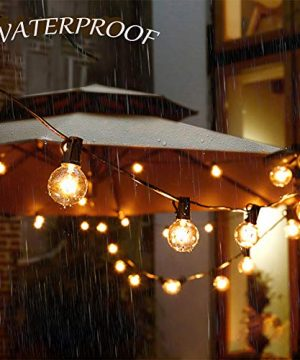 SkrLights 50FT Globe String Lights 53 Clear Bulbs Natural Warm G40 End To End Connectable Patio Lights For Backyard Garden Bistro Party Wedding Cafe Hanging Umbrella Indoor Outdoor Lights Black Wire 0 3 300x360
