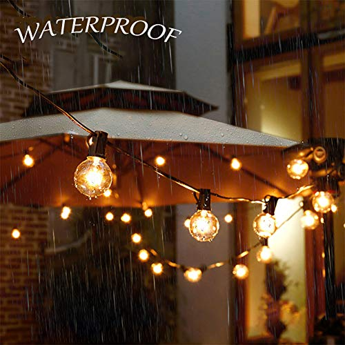 SkrLights 50FT Globe String Lights 53 Clear Bulbs Natural Warm G40 End To End Connectable Patio Lights For Backyard Garden Bistro Party Wedding Cafe Hanging Umbrella Indoor Outdoor Lights Black Wire 0 3