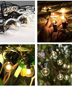 SkrLights 50FT Globe String Lights 53 Clear Bulbs Natural Warm G40 End To End Connectable Patio Lights For Backyard Garden Bistro Party Wedding Cafe Hanging Umbrella Indoor Outdoor Lights Black Wire 0 4 300x360