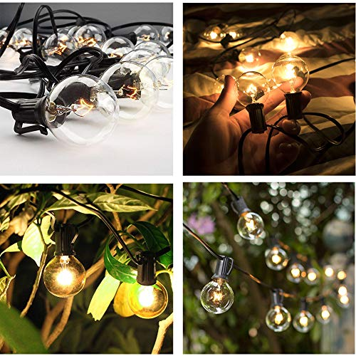 SkrLights 50FT Globe String Lights 53 Clear Bulbs Natural Warm G40 End To End Connectable Patio Lights For Backyard Garden Bistro Party Wedding Cafe Hanging Umbrella Indoor Outdoor Lights Black Wire 0 4