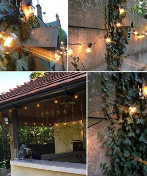 SkrLights 50FT Globe String Lights 53 Clear Bulbs Natural Warm G40 End To End Connectable Patio Lights For Backyard Garden Bistro Party Wedding Cafe Hanging Umbrella Indoor Outdoor Lights Black Wire 0 5 300x360
