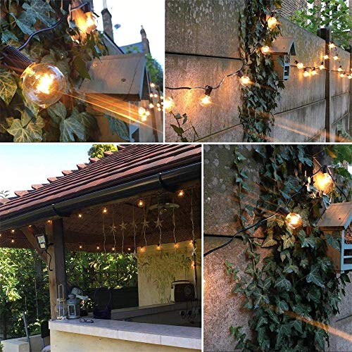 SkrLights 50FT Globe String Lights 53 Clear Bulbs Natural Warm G40 End To End Connectable Patio Lights For Backyard Garden Bistro Party Wedding Cafe Hanging Umbrella Indoor Outdoor Lights Black Wire 0 5