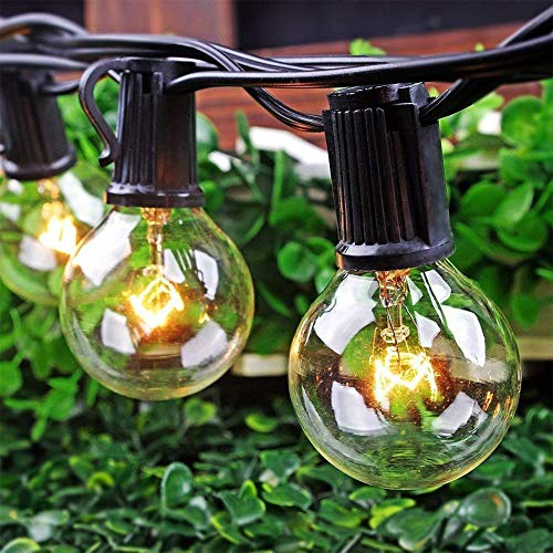 SkrLights 50FT Globe String Lights 53 Clear Bulbs Natural Warm G40 End To End Connectable Patio Lights For Backyard Garden Bistro Party Wedding Cafe Hanging Umbrella Indoor Outdoor Lights Black Wire 0