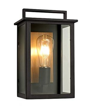 Smeike Outdoor Wall Mount Light Wall SconceLanterns Porch Lights Simple Modern 1 Light Exterior Sconces Lantern In Matte Black Finish With Clear Glass 0 300x360
