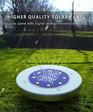 Solar Ground LightsDisk Lights Solar Powered 8 LED Outdoor In Ground Solar Lights For LandscapeWalkwayLawn Steps DecksPathway Yard Stairs Fences LED Lamp Waterproof8 Warm White 0 2 300x360