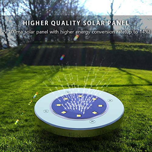 Solar Ground LightsDisk Lights Solar Powered 8 LED Outdoor In Ground Solar Lights For LandscapeWalkwayLawn Steps DecksPathway Yard Stairs Fences LED Lamp Waterproof8 Warm White 0 2