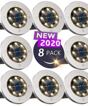 Solar Ground LightsDisk Lights Solar Powered 8 LED Outdoor In Ground Solar Lights For LandscapeWalkwayLawn Steps DecksPathway Yard Stairs Fences LED Lamp Waterproof8 Warm White 0 300x360