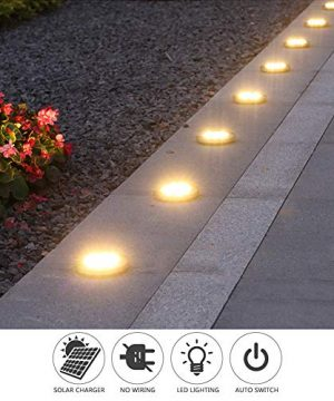 Solar Ground LightsDisk Lights Solar Powered 8 LED Outdoor In Ground Solar Lights For LandscapeWalkwayLawn Steps DecksPathway Yard Stairs Fences LED Lamp Waterproof8 Warm White 0 4 300x360