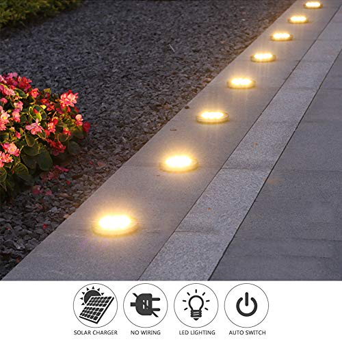 Solar Ground LightsDisk Lights Solar Powered 8 LED Outdoor In Ground Solar Lights For LandscapeWalkwayLawn Steps DecksPathway Yard Stairs Fences LED Lamp Waterproof8 Warm White 0 4
