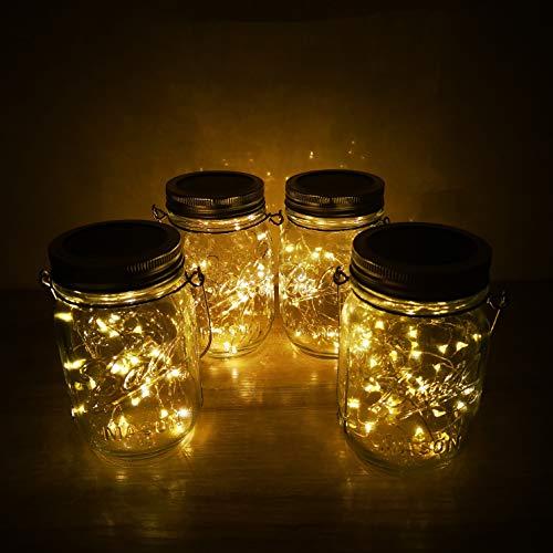 Solar Mason Jar Lights4 Pack 30 Led Starry Fairy String Hanging Jar LightsSolar Lanterns For Outdoor Patio Party Garden Wedding Christmas Decorations LightsMason JarsHandles Included 0 1