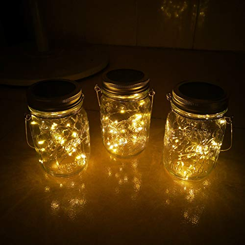 Solar Mason Jar Lights4 Pack 30 Led Starry Fairy String Hanging Jar LightsSolar Lanterns For Outdoor Patio Party Garden Wedding Christmas Decorations LightsMason JarsHandles Included 0 5