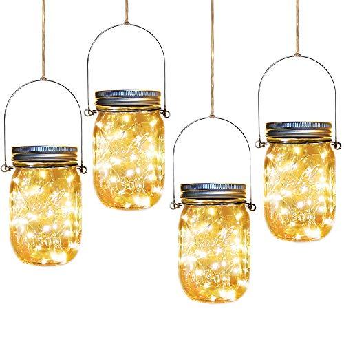 Solar Mason Jar Lights4 Pack 30 Led Starry Fairy String Hanging Jar LightsSolar Lanterns For Outdoor Patio Party Garden Wedding Christmas Decorations LightsMason JarsHandles Included 0