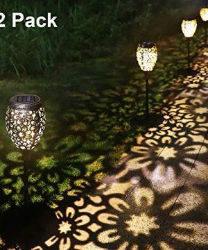 Solar Pathway Lights Garden Outdoor Waterproof Retro Metal Lights Warm White LED Decorative Stakes Landscape Lighting For Garden Landscape Path Yard Patio Driveway Walkway 0 300x360
