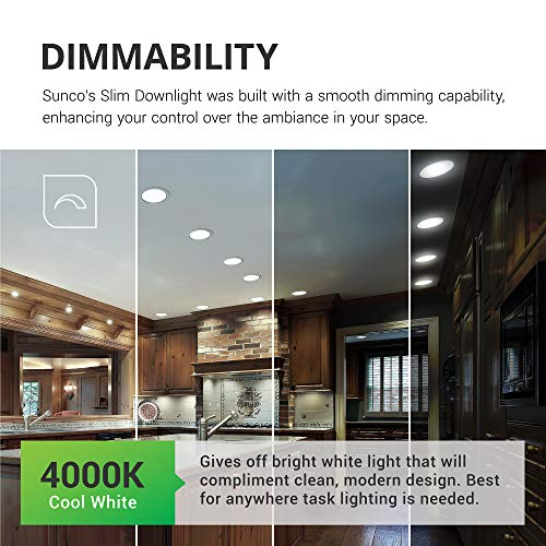 Sunco Lighting 12 Pack 6 Inch Slim LED Downlight Baffle Trim Junction Box 14W100W 850 LM Dimmable 4000K Cool White Recessed Jbox Fixture IC Rated Retrofit Installation ETL Energy Star 0 2