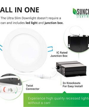 Sunco Lighting 12 Pack 6 Inch Slim LED Downlight With Junction Box 14W100W 850 LM Dimmable 5000K Daylight Recessed Jbox Fixture Simple Retrofit Installation ETL Energy Star 0 2 300x360