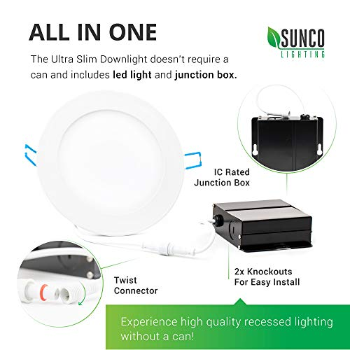 Sunco Lighting 12 Pack 6 Inch Slim LED Downlight With Junction Box 14W100W 850 LM Dimmable 5000K Daylight Recessed Jbox Fixture Simple Retrofit Installation ETL Energy Star 0 2