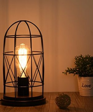 Surpars House Wood Retro Table Lamp Metal Shade Edison Bulb Included Warm White LightBlack 0 300x360
