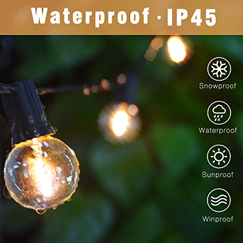 Svater Globe Led String Lights 2x18FT With 10 Hanging Socket 2x10 G40 LED BulbsDimmable 1W 2700K Warm White IP45 Waterproof IndoorOutdoor Patio Lights 0 0