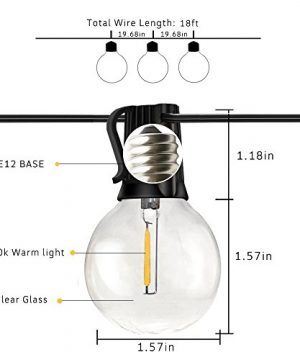 Svater Globe Led String Lights 2x18FT With 10 Hanging Socket 2x10 G40 LED BulbsDimmable 1W 2700K Warm White IP45 Waterproof IndoorOutdoor Patio Lights 0 2 300x360