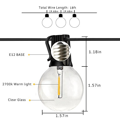 Svater Globe Led String Lights 2x18FT With 10 Hanging Socket 2x10 G40 LED BulbsDimmable 1W 2700K Warm White IP45 Waterproof IndoorOutdoor Patio Lights 0 2