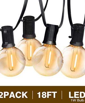 Svater Globe Led String Lights 2x18FT With 10 Hanging Socket 2x10 G40 LED BulbsDimmable 1W 2700K Warm White IP45 Waterproof IndoorOutdoor Patio Lights 0 300x360