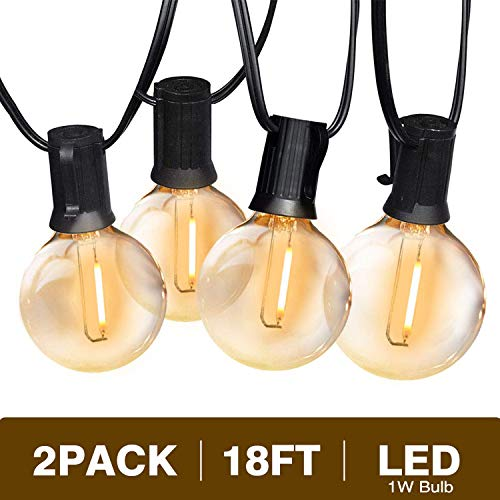 Svater Globe Led String Lights 2x18FT With 10 Hanging Socket 2x10 G40 LED BulbsDimmable 1W 2700K Warm White IP45 Waterproof IndoorOutdoor Patio Lights 0