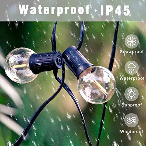 Svater LED Outdoor String Lights 50FT Patio Lights With 46pcs E12 Socket 50pcs 2700K Warm White G40 BulbsIndoorOutdoor Hanging String Lights For Cafe Garden Backyard 0 0