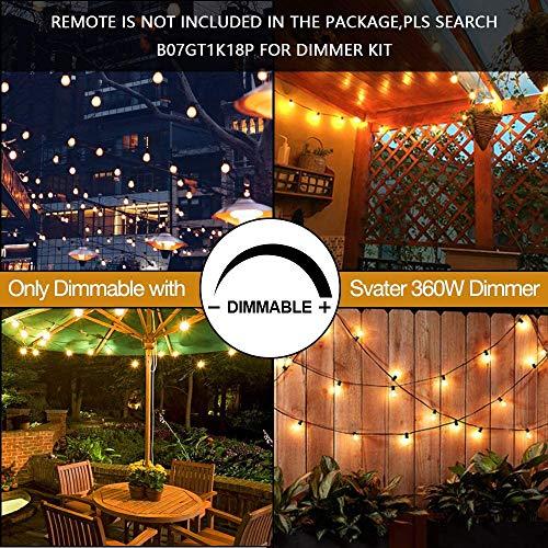 Svater LED Outdoor String Lights 50FT Patio Lights With 46pcs E12 Socket 50pcs 2700K Warm White G40 BulbsIndoorOutdoor Hanging String Lights For Cafe Garden Backyard 0 3