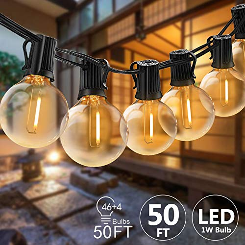 Svater LED Outdoor String Lights 50FT Patio Lights With 46pcs E12 Socket 50pcs 2700K Warm White G40 BulbsIndoorOutdoor Hanging String Lights For Cafe Garden Backyard 0