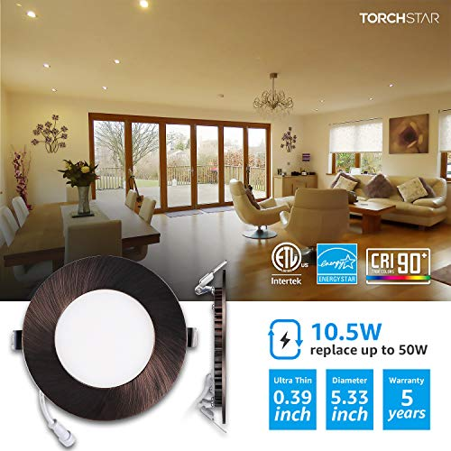 TORCHSTAR 105W 4 Dimmable Slim LED Recessed Light 3000K Warm White Ultra Thin Panel Downlight 680lm ETL Energy Star Listed 5 Years Warranty Satin Nickel Finish Pack Of 6 0 0