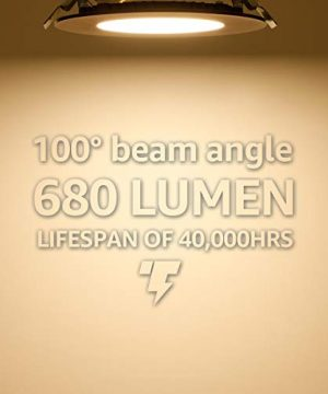 TORCHSTAR 105W 4 Dimmable Slim LED Recessed Light 3000K Warm White Ultra Thin Panel Downlight 680lm ETL Energy Star Listed 5 Years Warranty Satin Nickel Finish Pack Of 6 0 2 300x360