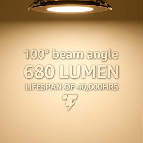 TORCHSTAR 105W 4 Dimmable Slim LED Recessed Light 3000K Warm White Ultra Thin Panel Downlight 680lm ETL Energy Star Listed 5 Years Warranty Satin Nickel Finish Pack Of 6 0 2