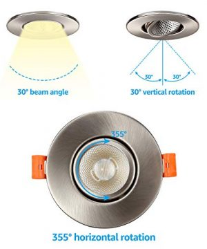 TORCHSTAR 3 Inch Gimbal LED Dimmable Recessed Light With J Box 7W 50W Eqv 500lm Airtight ETLEnergy Star CRI 90 4000K Cool White 5 Years Warranty Satin Nickel Pack Of 6 0 2 300x360
