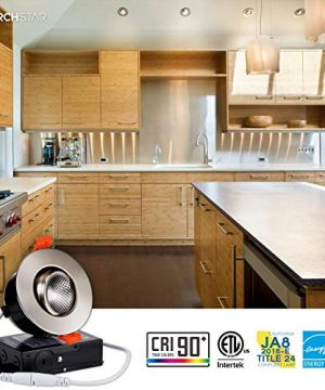 TORCHSTAR 3 Inch Gimbal LED Dimmable Recessed Light With J Box 7W 50W Eqv 500lm Airtight ETLEnergy StarJA8Title 24 Listed CRI 90 3000K Warm White 5 Years Warranty Satin Nickel Pack Of 6 0 0 300x360