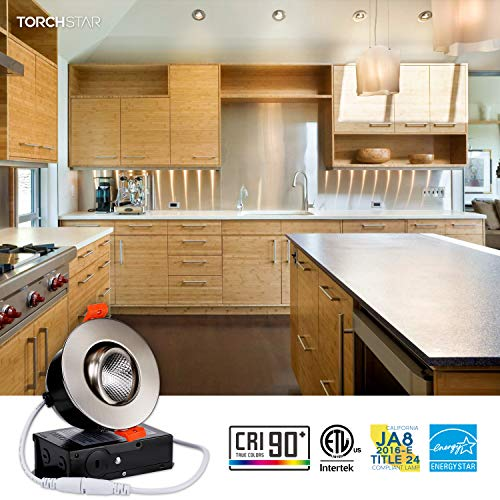 TORCHSTAR 3 Inch Gimbal LED Dimmable Recessed Light With J Box 7W 50W Eqv 500lm Airtight ETLEnergy StarJA8Title 24 Listed CRI 90 3000K Warm White 5 Years Warranty Satin Nickel Pack Of 6 0 0
