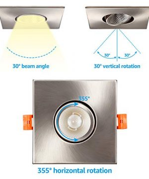 TORCHSTAR 3 Inch Gimbal LED Recessed Light With J Box Square Downlight Dimmable 7W 50W Eqv CRI 90 5000K Daylight ETLEnergy Star 5 Years Warranty Satin Nickel Pack Of 6 0 1 300x360