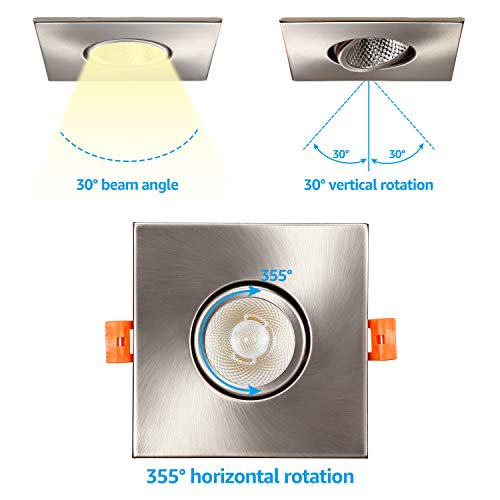 TORCHSTAR 3 Inch Gimbal LED Recessed Light With J Box Square Downlight Dimmable 7W 50W Eqv CRI 90 5000K Daylight ETLEnergy Star 5 Years Warranty Satin Nickel Pack Of 6 0 1