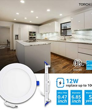 TORCHSTAR Basic Series 12 Pack 12W Recessed Lights 6 Inch With Junction Box Dimmable Ultra Thin LED Downlight 100W Eqv ETL Energy Star Listed 4000K Cool White 5 Years Warranty 0 0 300x360