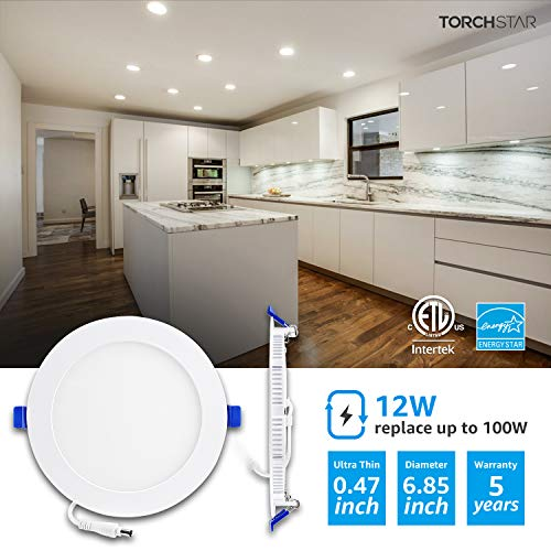 TORCHSTAR Basic Series 12 Pack 12W Recessed Lights 6 Inch With Junction Box Dimmable Ultra Thin LED Downlight 100W Eqv ETL Energy Star Listed 4000K Cool White 5 Years Warranty 0 0