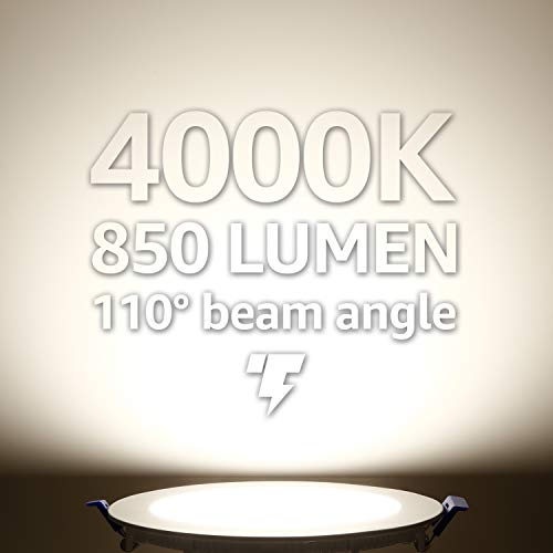 TORCHSTAR Basic Series 12 Pack 12W Recessed Lights 6 Inch With Junction Box Dimmable Ultra Thin LED Downlight 100W Eqv ETL Energy Star Listed 4000K Cool White 5 Years Warranty 0 1