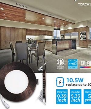 TORCHSTAR Premium 105W 4 Inch Ultra Thin LED Recessed Light With J Box 4000K Cool White Dimmable Slim Panel Downlight 680lm ETL Energy Star 5 Years Warranty Oil Rubbed Bronze Pack Of 6 0 300x360
