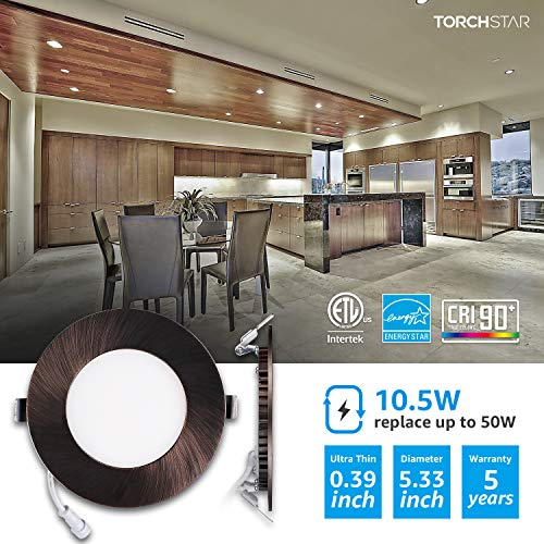 TORCHSTAR Premium 105W 4 Inch Ultra Thin LED Recessed Light With J Box 4000K Cool White Dimmable Slim Panel Downlight 680lm ETL Energy Star 5 Years Warranty Oil Rubbed Bronze Pack Of 6 0