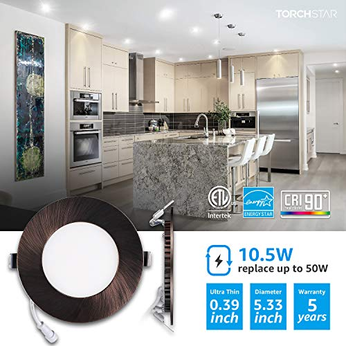 TORCHSTAR Premium 105W 4 Inch Ultra Thin LED Recessed Light With J Box 5000K Daylight Dimmable Slim Panel Downlight 680lm ETL Energy Star 5 Years Warranty Oil Rubbed Bronze Pack Of 6 0 0