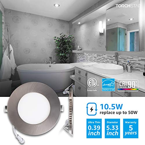 TORCHSTAR Premium 105W 4 Inch Ultra Thin LED Recessed Light With J Box 5000K Daylight Dimmable Slim Panel Downlight 680lm ETL Energy Star 5 Years Warranty Satin Nickel Pack Of 6 0 0